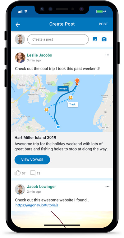 Argo Boating App Social Feed