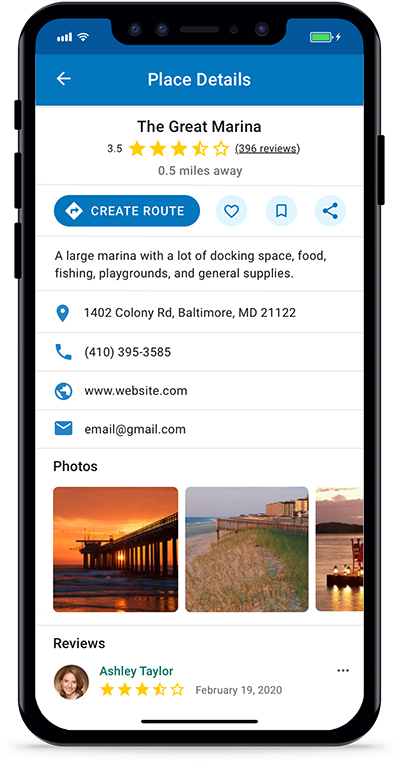 Argo Boating App Destination Description