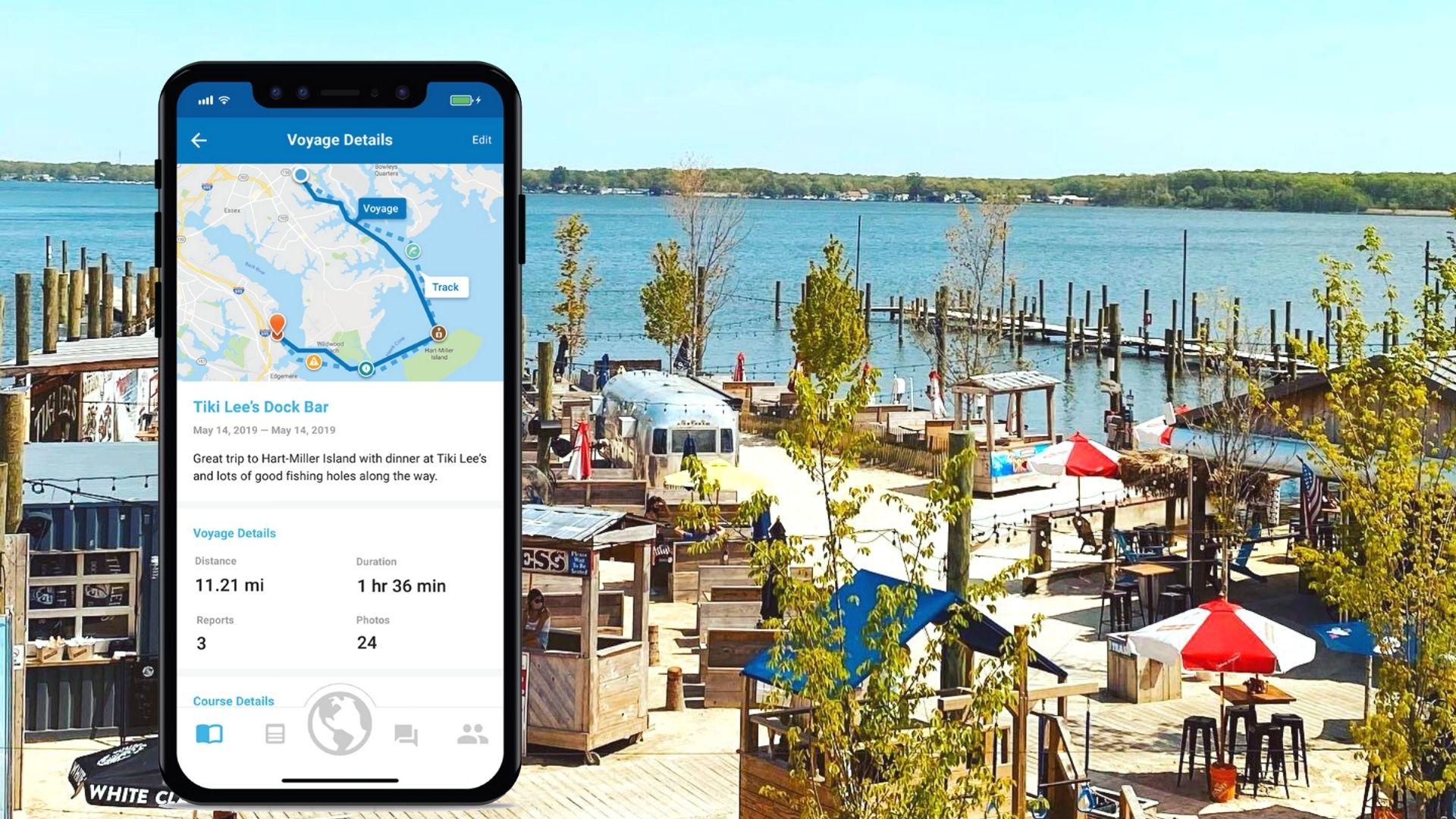 Argo App in front of Tiki Bar Restaurant